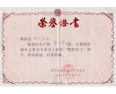 紫阳县第一届茶文化节茶王证书